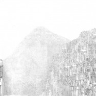 "Elevator Mountain, 2012 12"" x 30"" Ink and Graphite on Vellum"