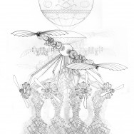 "Flying Dream Machine, 2012 36"" x 24"" Ink and Graphite on Vellum"